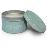 Sojakaars in blik Groen-Get your happy on-Geur Oriental Mandarin_