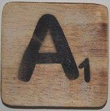 Letter A 6x6 cm blanco kleur_