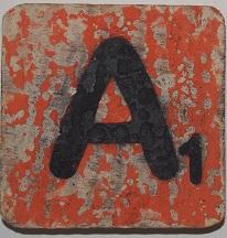 Letter A 6x6 cm oranje kleur