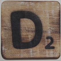 Letter D 6x6cm blanco
