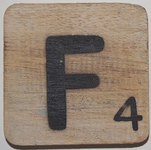 Letter F 6x6cm blanco