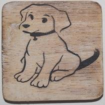 hond   6x6cm  blanco