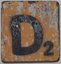 Letter D 6x6cm  oranje