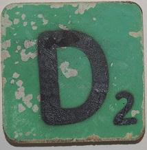 Letter D 6x6cm lichtgroen