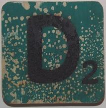 Letter D 6x6cm donkergroen