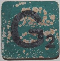 Letter G 6x6cm olijfgroen