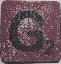 Letter G 6x6cm aubergine