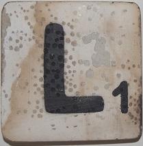 Letter L  6x6cm wit
