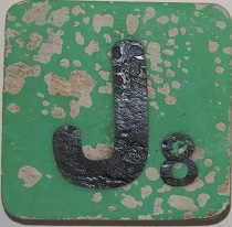 Letter J 6x6cm turqouise