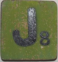 Letter J 6x6cm olijfgroen