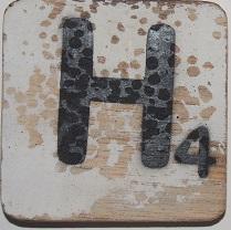 Letter H 6X6CM wit