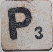 Letter P  6x6 cm wit