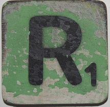 Letter R  6x6cm mintgroen