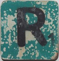Letter R  6x6cm turqouise