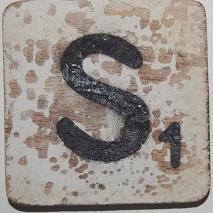 Letter S  6x6cm wit