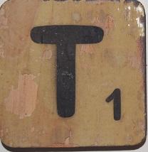 Letter T  6x6cm bruin