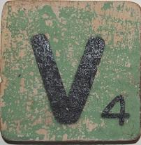 Letter V   6x6cm mintgroen