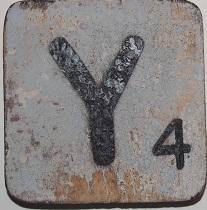Letter Y  6x6cm lichtblauw
