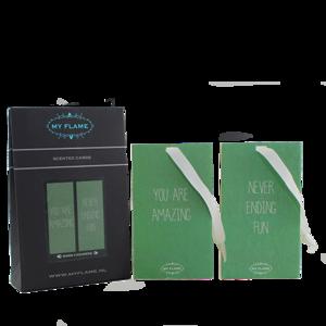 geurkaartjes groen 3 stks in doosje geur: Warm Cashmere