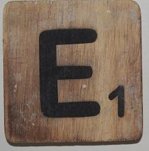 Letter E 6x6cm blanco