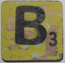 Letter B 6x6 cm appelgroen