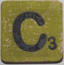 Letter C 6x6 cm appelgroen