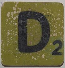 Letter D 6x6cm appelgroen