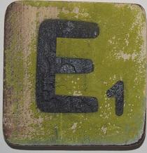 Letter E 6x6cm appelgroen