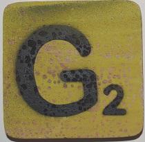 Letter G 6x6cm appelgroen