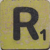 Letter R  6x6cm appelgroen