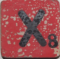Letter X  6x6cm rood