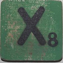 Letter X  6x6cm groen