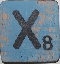 Letter X  6x6cm babyblauw