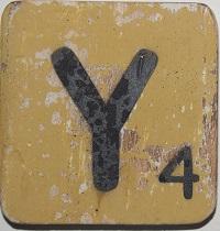 Letter Y  6x6cm geel